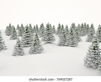 Winter landscape. Snow and trees isolated on white background 3d render