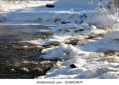 Winter landscape of snow and water from the lake