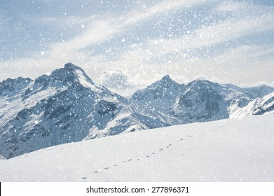 Winter landscape with snowflakes. Winter Scenic in the French Alps, Les 2 Alpes