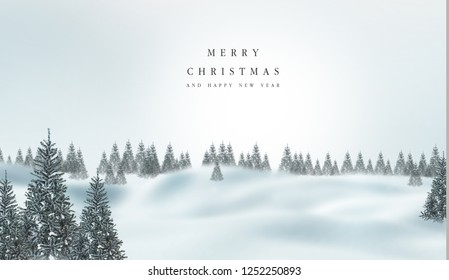 Winter landscape with snowy fir trees with merry christmas and happy new  year text soft background