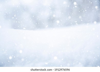 Winter landscape. It's snowy. Snowflakes, drifts of snow. At close range. Snowfall. Nature. Recording space, free space. Background.