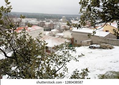 Winter landscape with snowy village
