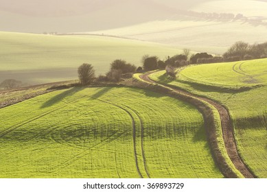 Winter landscape of the South Downs in late afternoon sun. The South Downs National Park skirts between Lewes and Brighton in stunning rolling hills.