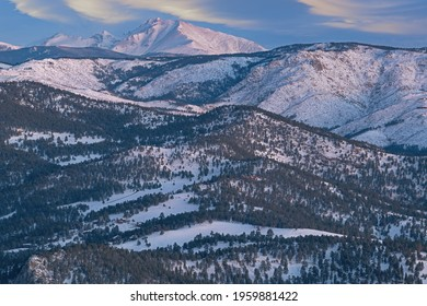 Winter landscape at sunrise of the Front Range of the Rocky Mountains and Longs Peak from Lost Gulch Overlook, Flagstaff Mountain, Boulder, Colorado, USA