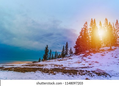 Winter landscape, sunset in the Austrian Alps