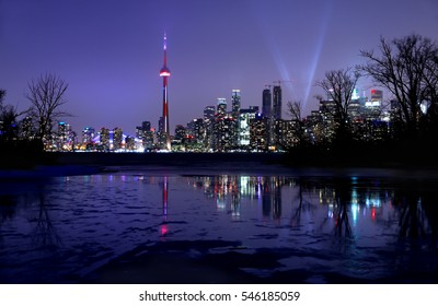 Winter landscape of Toronto Skyline at night, Ontario, Canada