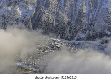 Winter landscape, town view under the cloud, Snow on the Mountain Chamonix, French