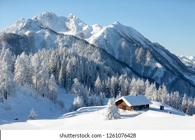 Winter landscape with traditional alpine chalet and snowy forest. Sunny frosty weather with clear blue sky