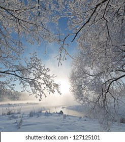 Winter landscape of tree on the edge of the river on a foggy morning at sunrise.