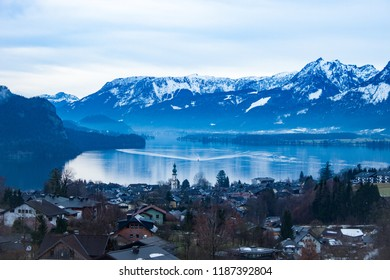Winter landscape. View of the austrian village St. Gilgen, Wolfgangsee and alpine mountains