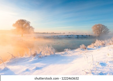 Winter landscape with warm sunlight in morning. Sun illuminates trees covered with frost and snowy riverside. Tranquil winter background. Clear blue sky.