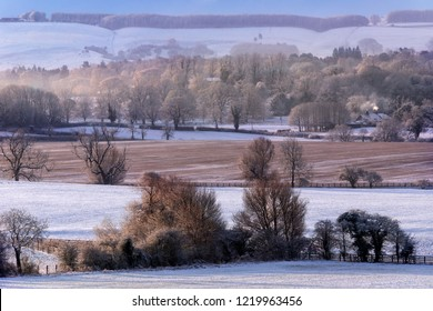 Winter landscape in the Yorkshire Wolds in the county of North Yorkshire in the United Kingdom.