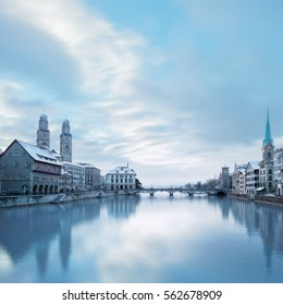 Winter landscape of Zurich with lake, Switzerland