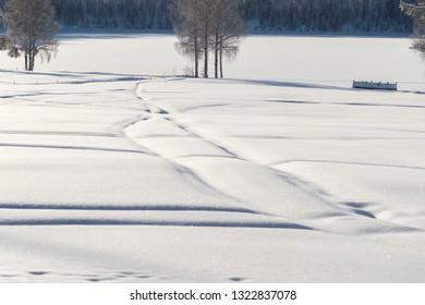 the winter in Lapland, Norrbotten, north of Sweden,