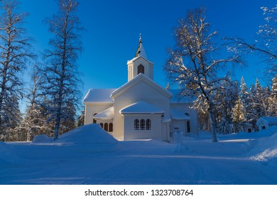 the winter in Lapland, Norrbotten, north of Sweden, the little white church of Osterjorn