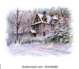 Winter lavender house painting vintage
