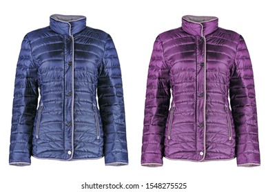Women´s winter lila and blue jacket. Modern quilted jacket. Isolated image on a white background.