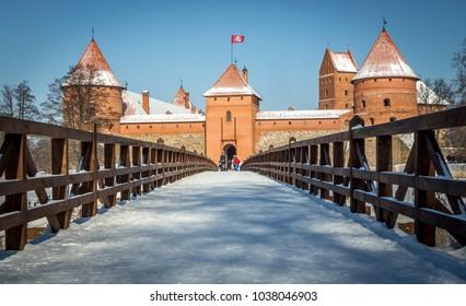 Winter in Lithuania, Europe (Trakai castle in island of Trakai lake, medieval capital of Lithuania)
