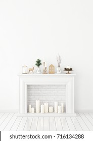 Winter livingroom interior with candle fireplace and christmas decorations on white wall background. 3D rendering.