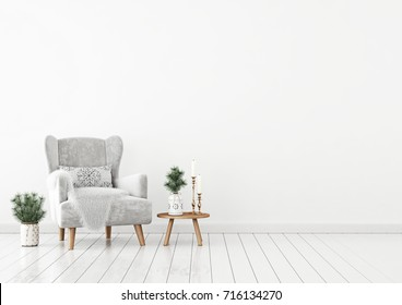 Winter livingroom interior with velvet armchair, pillow and pine branches on white wall background. 3D rendering.