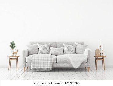 Winter livingroom interior with velvet sofa, pillows and plaid on white wall background. 3D rendering.