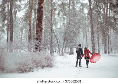 Winter love story in red