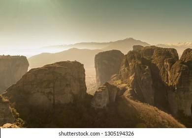 Winter at Meteora monasteries in Greece.