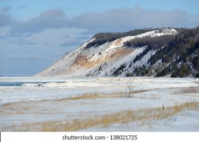 Winter at Michigan sleeping Bear Dunes National lakeshore. Empire Bluff