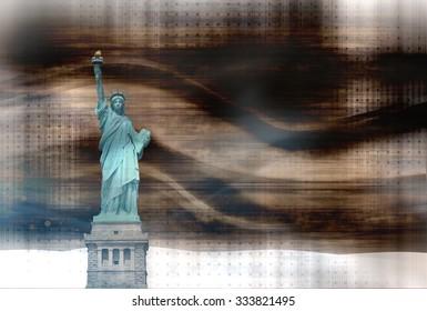 winter modern bright vibrant background wood statue of liberty