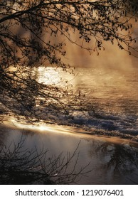 Winter morning in Bergisches Land at Wupper River in Solingen,North Rhine westphalia,Germany