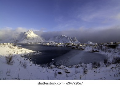 Winter Morning at the Lofoten in the town Reine, Norway.