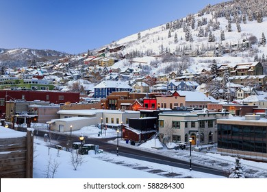 Winter morning in old town Park City, Utah, USA.
