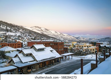 Winter Morning in Park City, Utah, USA.