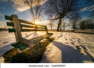 Winter morning at Seaside Park in Bridgeport, Connecticut, USA.