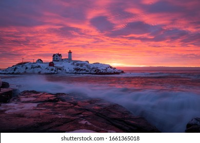 A winter morning sunrise at Nubble Lighthouse.