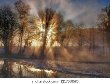 Winter morning at Wupper River in Bergisches Land in Solingen,North Rhine westphalia,Germany