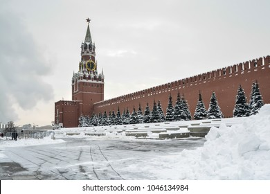 Winter Moscow Kremlin. The red Square of the Russian capital in February.