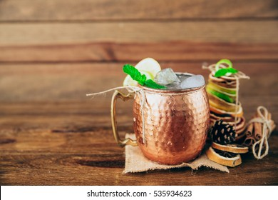 Winter Moscow mule cocktai