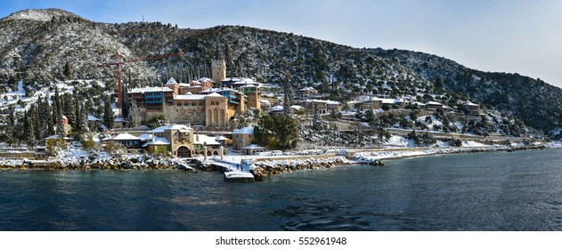 Winter at Mount Athos, Holy Monastery of  Docheiariou covered by snow