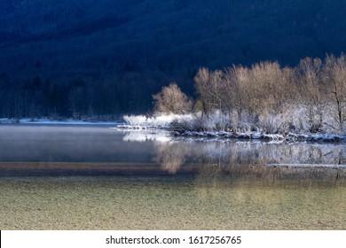 Winter Mountain Lake Frozen Slovenia