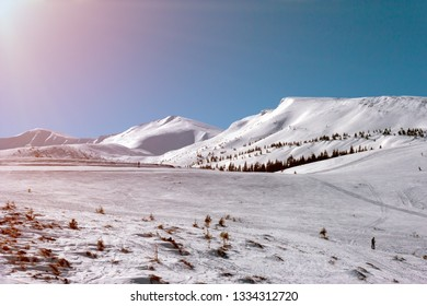 Winter Mountain Landscape bright sunny day Ski Resourt