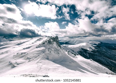 Winter mountain landscape, Bucegi Mountains in Romania