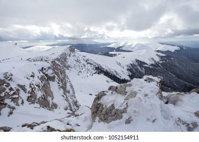 Winter mountain landscape in Bucegi, Romania.