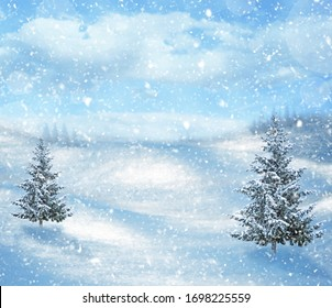 winter mountain landscape with Christmas trees. Background mountains and sky, spruce, winter and snow. Christmas and New Year background with winter trees in mountains covered with fresh snow.
