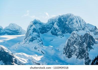 Winter mountain landscape near the lake Vorderer Gosausee. Austria