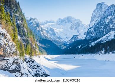 Winter mountain landscape on Lake Vorderer Gosausee. Austria