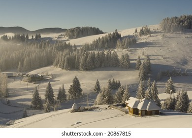 Winter mountain  Landscape on a romanian village