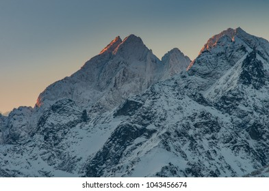 Winter mountain landscape, Rysy and Wysoka peaks in tatra mounta