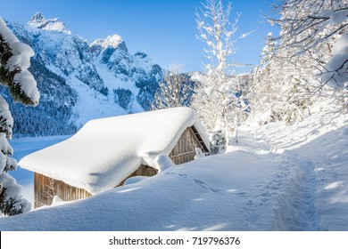 Winter mountain landscape at Salzkammergut, Austria