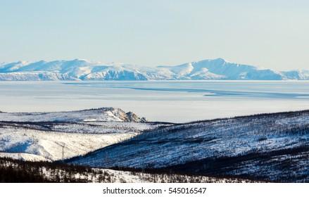 Winter mountain landscape, the Sea of Okhotsk, Magadan, Russia